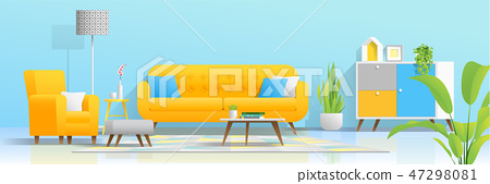 Interior background with cozy colorful living room 47298081