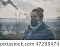 wearing a real anti-pollution, anti-smog face mask 47299474