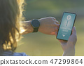 Woman is using the smartwatch and smart phone 47299864