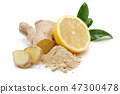 Fresh ginger root with leaves and lemon 47300478