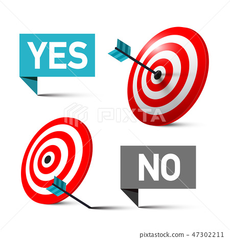 Yes and No Symbols with Darts in Centre of Target 47302211