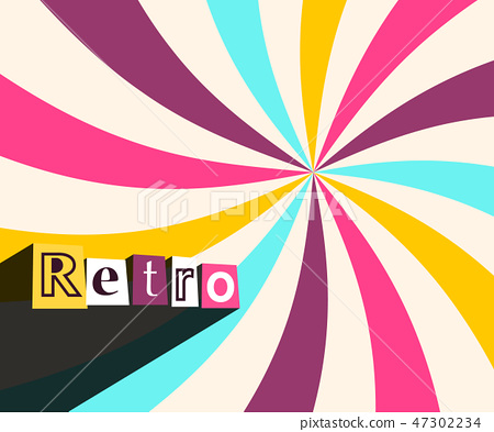 Retro Background with Colorful Rays. Twisted Star 47302234