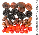 Background of dried apricots, prunes, dogwood and 47302573