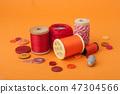 closeup of sewing set on orange background 47304566