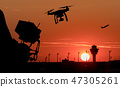 Drone flying near commercial airplane 47305261
