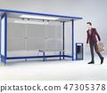 Young man at a bus stop 47305378