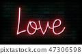 Valentine`s Day neon sign. Vector background. 47306598