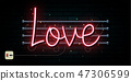 Valentine`s Day neon sign. Vector background. 47306599
