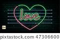 Valentine`s Day neon sign. Vector background. 47306600