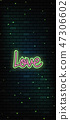 Valentine`s Day neon sign. Vector background. 47306602
