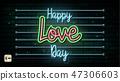 Valentine`s Day neon sign. Vector background. 47306603