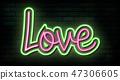 Valentine`s Day neon sign. Vector background. 47306605
