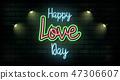 Valentine`s Day neon sign. Vector background. 47306607