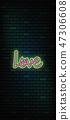 Valentine`s Day neon sign. Vector background. 47306608