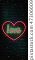 Valentine`s Day neon sign. Vector background. 47306609