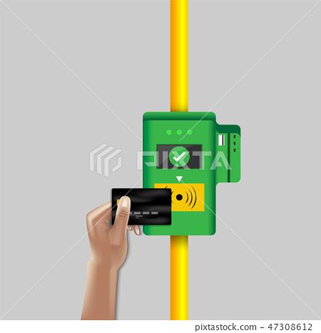 Ticket pass validation card machine of transport. 47308612