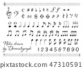Vector Illustration Design CG ai Icon Mark Music Note Staves Perforated Hand Drawn 47310591