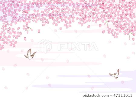 樱桃树麻雀水彩风格 47311013