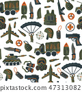 Military and army vector seamless pattern.  47313082
