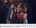 Best friends doing selfie in birthday party 47313215