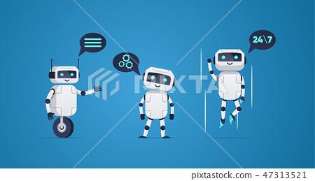 cartoon flat helper robots characters set.  47313521
