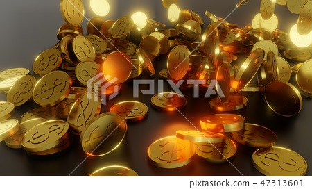 Falling gold coins. The concept of success 47313601
