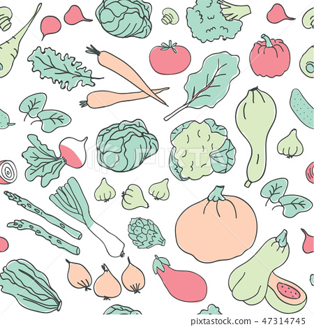 Healthy keto food vector seamless pattern 47314745