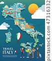 Map Of Italy Attractions Vector And Illustration. 47316332