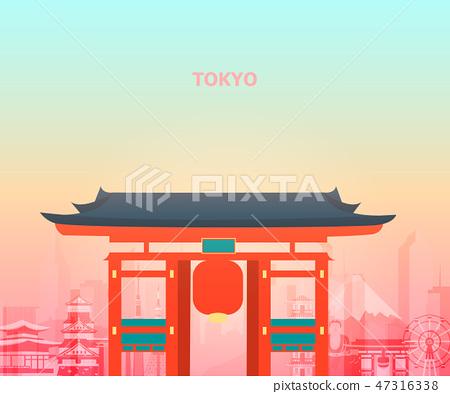 Illustration of tokyo temple japan. 47316338