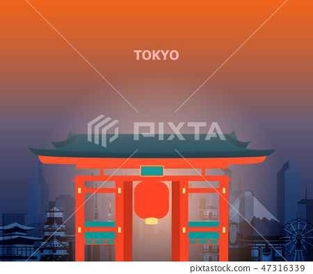 Illustration of tokyo temple japan. 47316339