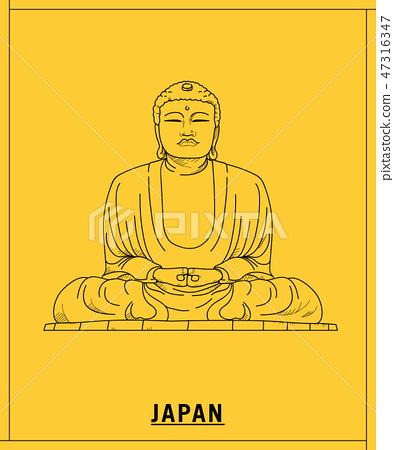Great Buddha of Kamakura.hand drawn sketch 47316347