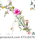 Watercolor painting of leaf and flowers, seamless  47316476