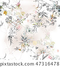 Watercolor painting of leaf and flowers, seamless  47316478