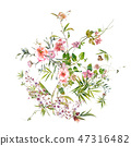 watercolor painting of leaves and flower, on white 47316482