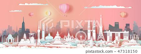 Travel landmark Asia with cityscape skyline. 47318150
