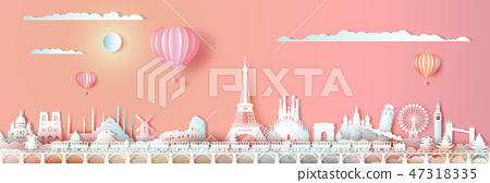 Traveling Europe landmarks of world with train. 47318335
