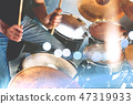 Music band and musician on stage.Drummer playing  47319933