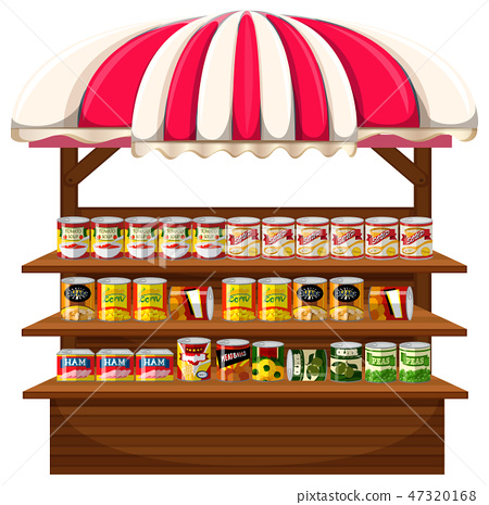 A stall of canned food 47320168