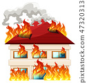 house, vector, flame 47320313