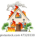 house, vector, flame 47320330