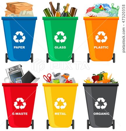 Set of different trash bin 47320358