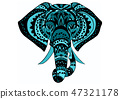 Vintage graphic vector Indian lotus ethnic elephant. African tribal ornament. 47321178