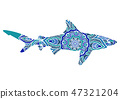Hand-drawn shark with ethnic doodle pattern. Coloring page - zendala, for relaxation and meditation 47321204
