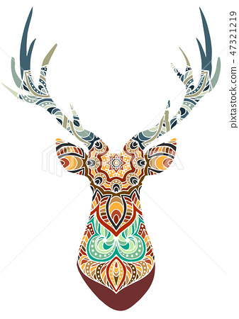 Hand drawn vector horned deer with high details ornament, flowers on white background 47321219
