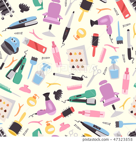 Hairdressing Equipment Seamless Pattern Vector Stock Illustration 47323858 Pixta