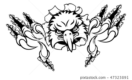 Eagle Cartoon Sports Mascot Ripping Background 47323891