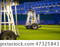 Mobile grow lighting system in sports stadium at night. 47325843