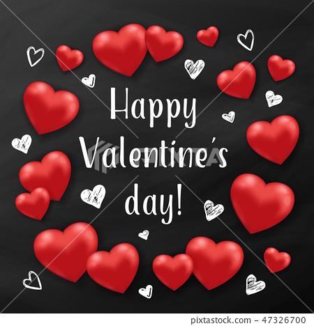 Red hearts on a black chalkboard. 47326700