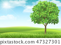 Tree on landscape background. 47327301