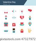 Valentine Day icons. Flat design.  47327972
